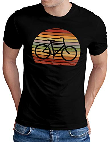 OM3® Retro Sunset Bicycle T-Shirt | Herren | Cycling Cyclist Biking Fahrrad Radfahrer | Schwarz, S