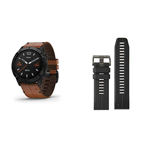 Garmin Fenix 6X Sapphire, Premium Multisport GPS Watch, Features Mapping, Music, Grade-Adjusted Pace Guidance and Pulse Ox Sensors & Quickfit Watch Band, Vented Carbon Gray Titanium Bracelet