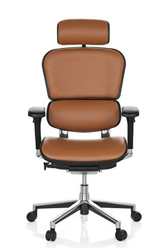 hjh OFFICE 652251 Chefsessel ERGOHUMAN Echtes Leder Hellbraun hochwertiger Bürodrehstuhl mit Vollausstattung