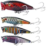 RUNCL Anchor Box - Topwater Popper Baits TP078, Hard Fishing Lures (Pack of 4)
