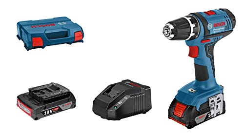 Bosch Professional 18V System Akku-Bohrschrauber GSR 18-2-LI (Drehmoment, max. (max. Drehmoment (hart/weich): 63/24 Nm, inkl. 2x2,0 Ah Akku, Ladegerät GAL 18 V-20, L-Case)