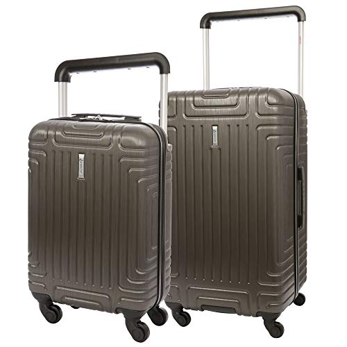 "Aerolite 2 Piece ABS Hard Shell 4 Wheel Trolley Bag Suitcase Luggage Set, 21"" Cabin 55x35x20 + 28"" Large Hold Luggage Suitcase (Charcoal)"