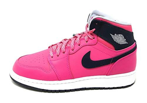 Nike Nike Mädchen Air Jordan 1 Retro High GG Laufschuhe, Rosa/Schwarz/Grau/Weiß (VVD Pnk/Drk Gry-Obsdn-WLF Whit), 36 EU