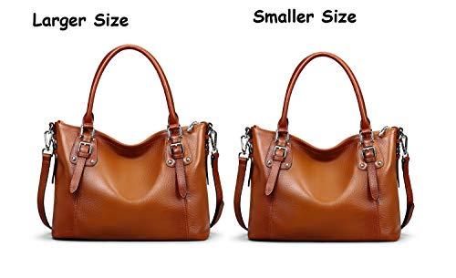 Heshe Womens Leather Vintage Handbags Top Handle Bags Totes Purse Satchels Shoulder Handbag Cross Body Bag for Ladies Large Capacity (SSorrel)