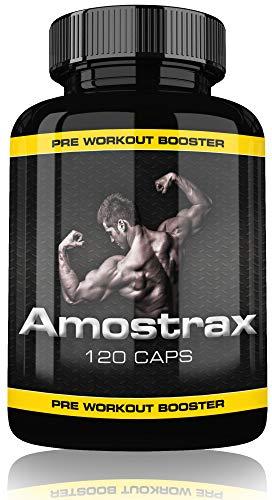 Amostrax Pre Workout Booster Extreme By Varg Power, 120 Kapseln, Beliebt bei Bodybuilder, Sportler und Männer, Hochdosiert, Matrix Formel Auf Höchsten Deutschen Standards Hergestellt, Made in Germany