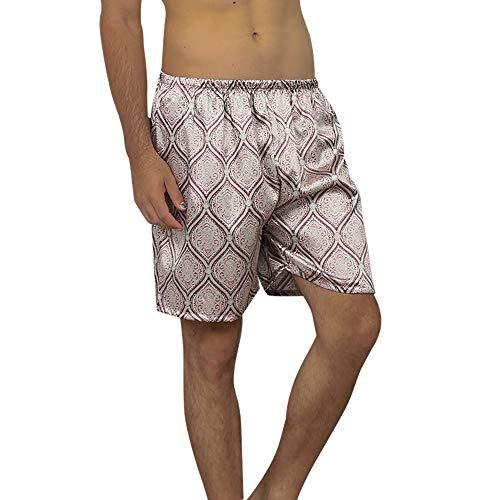 Heflashor Herren Satin Glanz Boxershorts Unterwäsche Sommer Bedruckte Pyjamas Shorts Schlafanzughose Nachtwäsche Seidensatin Webboxer Boxer Shorts