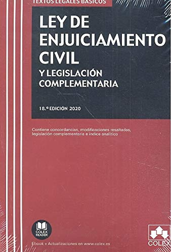 Ley de Enjuiciamiento Civil y Legislación complementaria: Contiene concordancias, modificaciones resaltadas, legislación complementaria e índice analítico: 1 (TEXTOS LEGALES BASICOS)