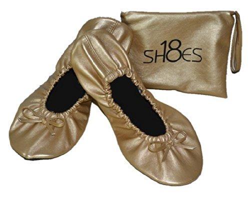 Shoes8teen Faltbare Reise-Ballett Flache Schuhe mit passender Tragetasche Für Damen 7-8 M US Gold Sh18-1