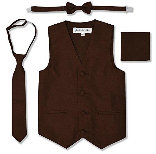 JL34 Boys Formal Tuxedo Vest Set (10, Brown)