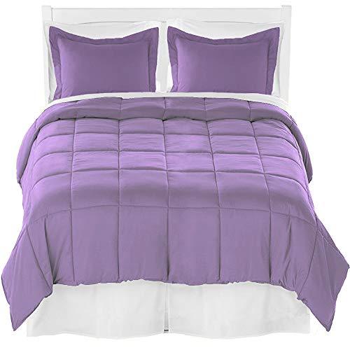 Bare Home Twin XL Comforter Set + Sheet Set + Bed Skirt - Premium Ultra-Soft Brushed Microfiber (Comforter Set: Lavender, Sheet Set: White, Bed Skirt: White)