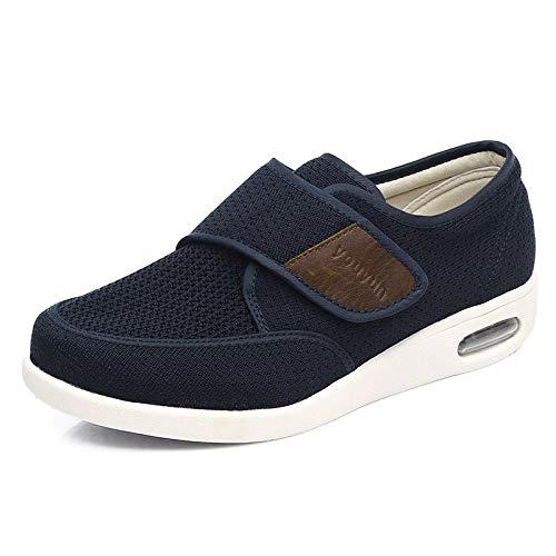 nohbi Hausschuhe Klettschuhe Senioren,Lose Daumen Valgus Diabetiker Schuhe,verstellbare Füße geschwollen Klettschuhe-blau_43,Fußschuhe Für Diabetes Gesundheitsschuhe