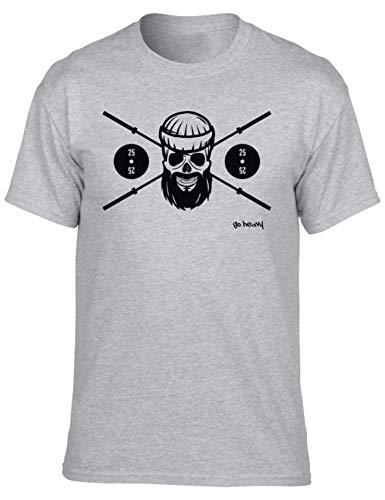 GO HEAVY Herren Fitness Sport T-Shirt | Männer Kurzarm Trainings Gymshirt | Aufdruck Barbell Skull | Hellgrau L