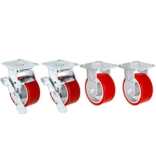 """4"""" X 2"""" Swivel Caster Heavy Duty Red Polyurethane Wheel on Steel Hub with Brakes (2) and Fixed (2) 2,800lbs Per Set of 4 Tool Box Casters - CasterHQ Brand (4"""")"""