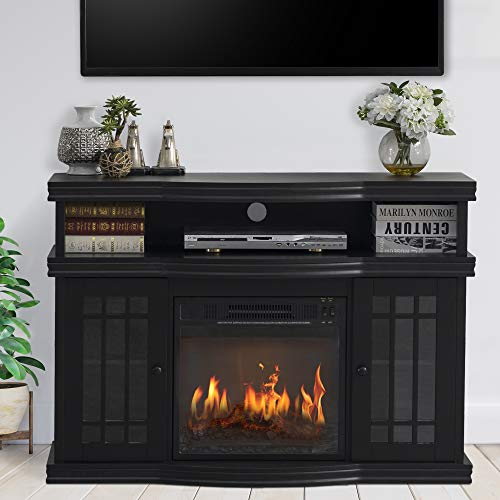 """GOOD & GRACIOUS Electric Fireplace TV Stand, Fit up to 50"""" Flat Screen TV with Two Tempered Glass Cabinet Entertainment Center for Living Room, Black"""
