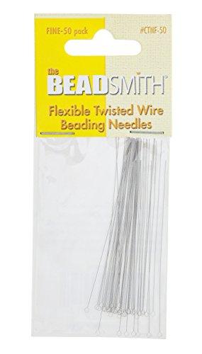 BeadSmith Beading Nadeln Perlnadeln, Flexibler Verdrillter Draht FEIN, 50er Pack