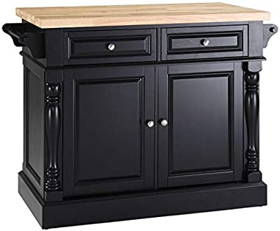 Crosley Furniture Kitchen Island with Butcher Block Top and 24-inch Stools by Crosley Furniture