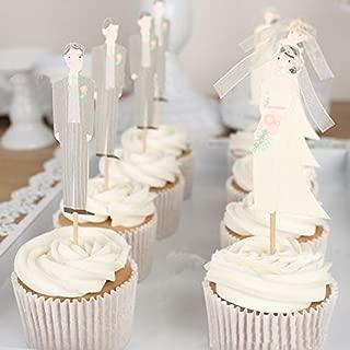 Best Design 12 Pcs Set Cute Bride And Groom Cupcake Toppers Picks Wedding Cake, Animal Wedding Cake - Swarovski Gold Cake, Camping Tent Cake, Wedding Cake, Purple Wedding Cake Decorations, Ups Cake