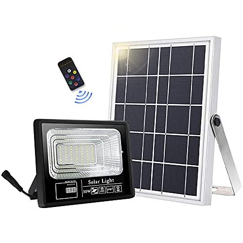 Lámparas solares para exteriores, 49 LED, lámpara solar exterior, mando a distancia IP67, resistente al agua, ángulo de iluminación de 120° con cable de 16,5 pies [Clase energética A +++]