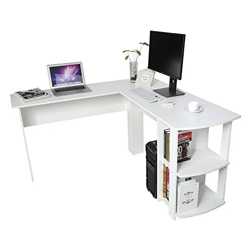 Escritorio de Esquina, Mesa de Ordenador con Espacio de Almacenamiento Mesa de Oficina para Hogar y Oficina, Forma de L (Blanco)