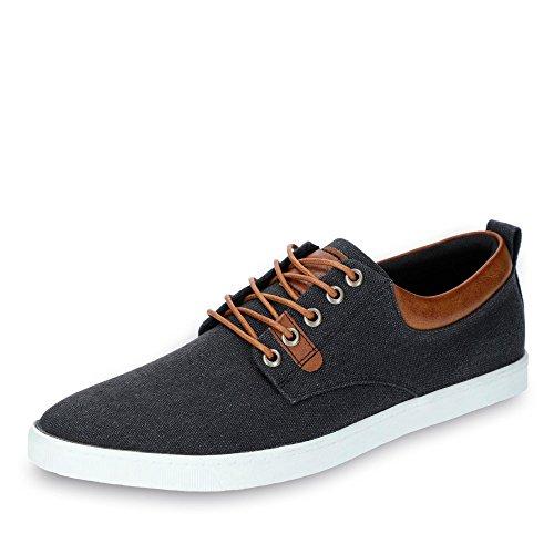 BULLBOXER 814X25288ABKCOSUGG Herren Sneaker aus Textilmaterial mit Textilfutter, Groesse 43, schwarz