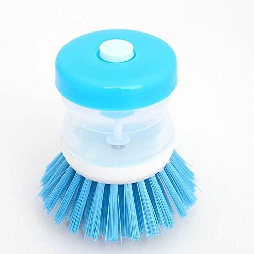 Pratica spazzola da cucina con erogatore detergente. Ideale per pre lavaggio di tutti i tipi di superficie e per evitare sprechi di detergente (Blue)