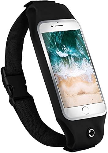 moex Laufgürtel Handy für Huawei P20 Lite Lauftasche Jogging Tasche Wasserfest, Slim Running Belt Flexibel mit Sichtfenster, Laufgurt zum Joggen Bauchtasche Sport, - Schwarz