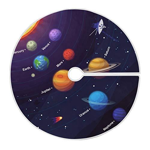 ALARGE Falda para árbol de Navidad, diseño de planetas con sistema solar,...