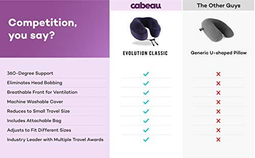 Cabeau Evolution Classic Neck Support Pillow - Neck Pillow for Traveling - Memory Foam Airplane Pillow with 360-Degree Comfort - Head & Chin Support Pillows for Sleeping Upright - (Navy)
