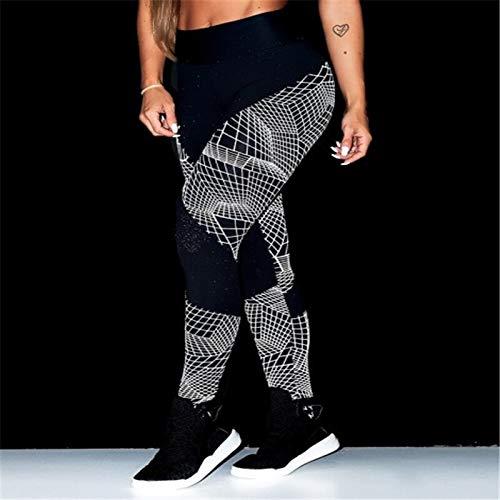 Opprxg Pantalones de Yoga para Mujer con Estampado geométrico en Rollo elástico de Cintura Alta Fitness Leggings Ajustados para Fitness Pantalones Deportivos para Mujer