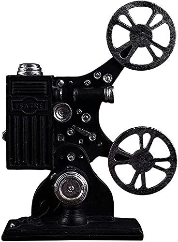 JJDSN Estatuas Vintage para decoración del hogar, Figura de proyector, decoración de Escultura de Resina para Adorno de Oficina de Escritorio, Regalo, Negro