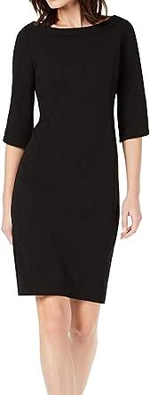 Calvin Klein Womens CD9C15P3 Wide Neck Sheath with Three Quarter Tulip Sleeve 3/4 Sleeve Dress
