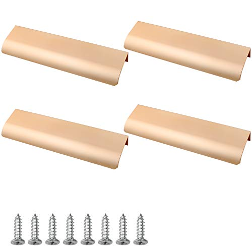 Hrroes 4 Pezzi Maniglie Nascoste in Alluminio Moderna Maniglie Nascoste per Armadietti per la Casa, la Cucina, i Cassetti, gli Armadi (Goldenwarm)
