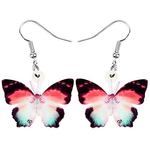 Pendientes de Mariposa con Pincel acrílico, Colgantes de Insectos y Animales de Gran Belleza, Regalos para niños y niñas, Rojo marrón