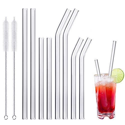 MELLIEX Glas Strohhalm Wiederverwendbar Glas Trinkhalme Eco Nachhaltige Strohhalme Für Cocktail Smoothie Tee, 8er Set Mit 2 Reinigungsbürsten(4 Lange und 4 Kurze)