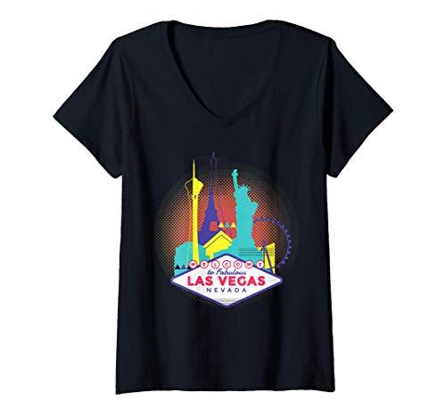 Mujer Vintage Las Vegas Nevada - Las Vegas Strip Casino Camiseta Cuello V