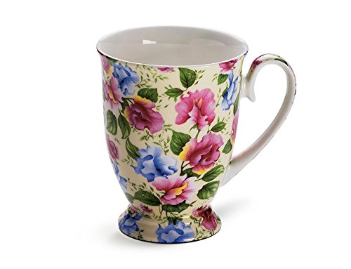 Maxwell & Williams S56954 Royal Old England Becher auf Fuß, Kaffeebecher, Tasse, Motiv: Wicke, in Geschenkbox, Porzellan
