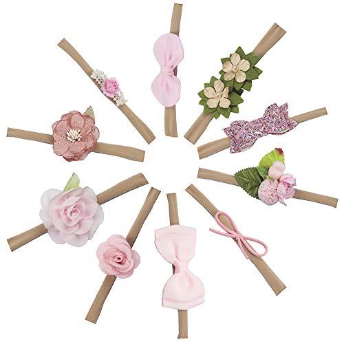 CHEPL Baby Stirnband 10 Stück Bogen Haarbänder Kinder Haarband elastsichem Band für Kinder Babyschmuck schmuck