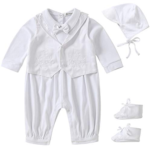 Booulfi Baby Boys Christening Baptism Outfits Long Sleeve Suit with Hat,Cross Detail