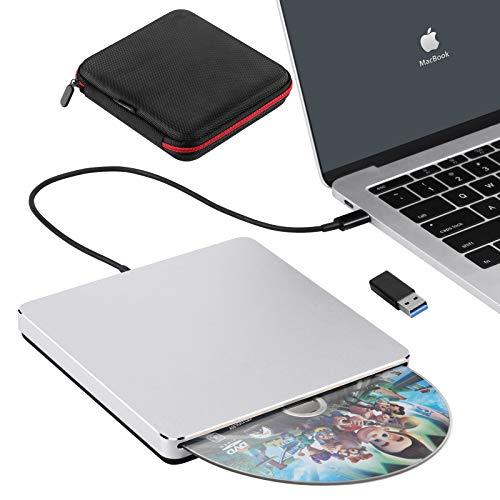 External DVD Drive,Biscon USB3.0/Type-C Slim CD ROM Portable Slot-in CD DVD+/-RW Player Burner Writer for Mac MacBook Air Pro Laptop PC Windows(Silver)