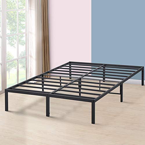 PrimaSleep 14 Inch Tall Simple & Sturdy Steel Slat Metal Bed Frame/Non Slip/Ample Storage Space,Queen