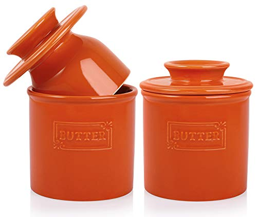 AVLA 2 Pack Ceramic Butter Crock French Butter Dish with Water Line Butter Keeper Butter Container for Countertop Big Capacity Orange
