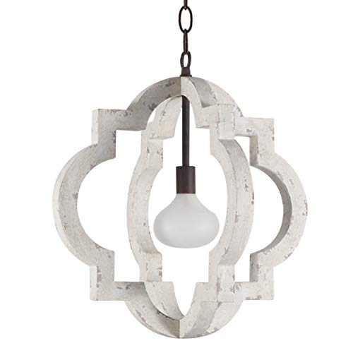 DOCHEER Vintage Antique Wood and Metal Chandelier 1-Light 10360 Farmhouse Wooden Distress Chandeliers Ceiling Pendant Lighting Perfect for Kitchen Table, Dining Room, Bedroom, Foyer, Living Room