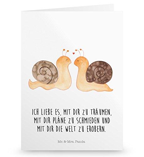 Mr. & Mrs. Panda Hochzeitskarte, Einladungskarte, Grußkarte Schnecken Liebe mit Spruch - Farbe Weiß