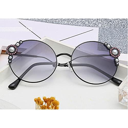 U/N Gafas de Sol de Moda para Mujer con Diamantes de imitación de Perlas Redondas de Lujo, Gafas Vintage, Gafas de Sol de Moda para Mujer-5