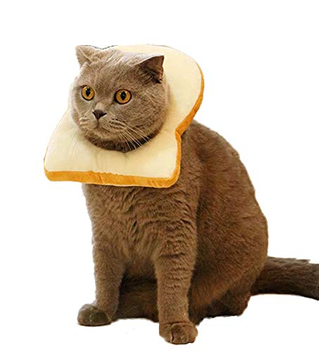 komii Pet Costume,Creative Toast cat Headdress, Soft Bread Slice Collar for Cats, Toast Bread hat, Bread-Shaped pet hat, Easy to Remove, Cute pet Makeup, cat Cosplay Cap, cat Toy (S)