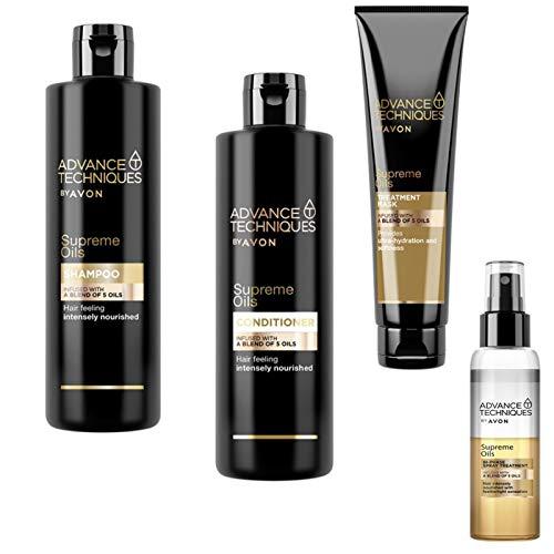 Avon Set Advance Techniques Supreme Oils Shampoo + Pflegespülung je 250ml + 2 Phasen Pflegespray 100ml + Haarmaske 150ml mit 5 wertvollen Ölen