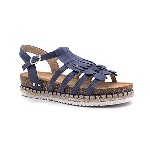 Angkorly - Damen Schuhe Sandalen - Römersandalen - Bequeme - Offen - Fransen - mit Stroh - Kork Keilabsatz high Heel 4 cm - Blau FD-43 T 41