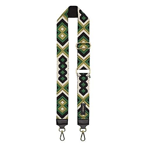 MARANT - Bandolera fantasía de 5 cm de ancho para bolsas de tela e inserciones de piel. verde Smeraldo Talla única