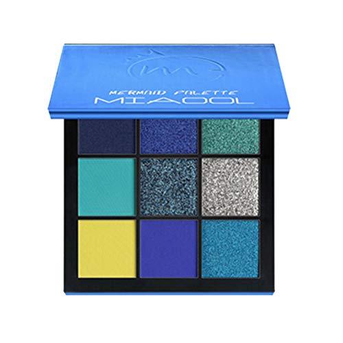 Pixnor Palette de Fards à Paupières Palette de Maquillage Longue Tenue Pigmentée Fard à Paupières Chatoyant Et Mat (Bleu)