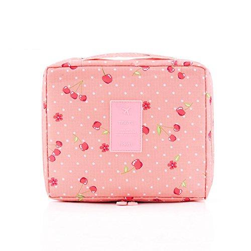 Trousse de maquillage de voyage cosmétique Trousse de toilette Wash Organiseur Sac à main 1 pcs Rose Smile Face Cerise